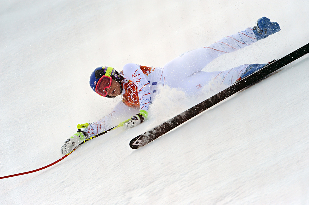 . Laurenne Ross of the USA crashes out during the Alpine Skiing Women\'s Super Combined at the Sochi 2014 Winter Olympic Games at Rosa Khutor Alpine Centre on February 10, 2014 in Sochi, Russia. (Photo by Alain Grosclaude/Agence Zoom/Getty Images)