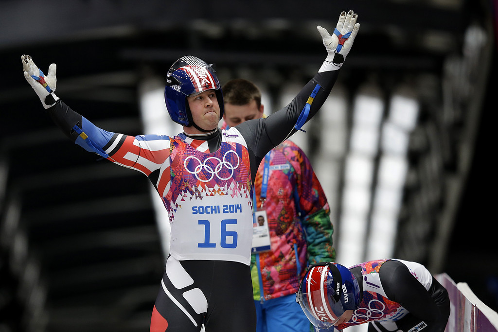 . Matthew Mortensen (front) and Preston Griffall of the United States complete their second run during the Men\'s Luge Doubles on Day 5 of the Sochi 2014 Winter Olympics at Sliding Center Sanki on February 12, 2014 in Sochi, Russia.  (Photo by Ezra Shaw/Getty Images)