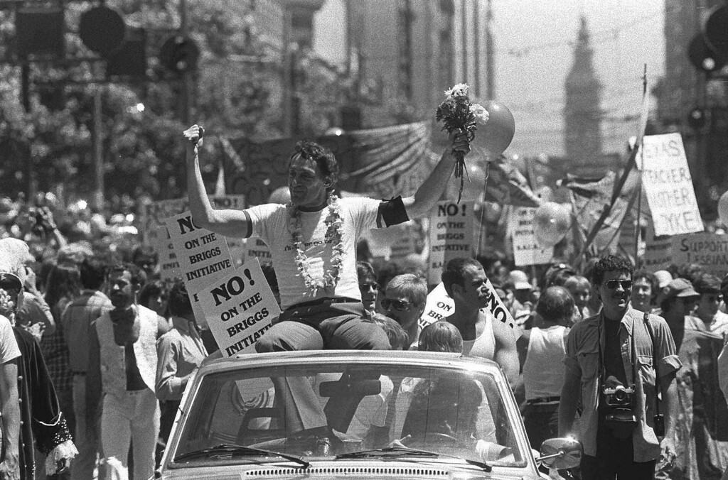 . In this June 26, 1978 file photo, then San Francisco Supervisor Harvey Milk is seen in San Francisco\'s seventh annual Gay Freedom parade. A network of Long Island gay and lesbian advocacy groups is honoring the slain gay rights activist this weekend. Milk grew up on Long Island and graduated from high school there in the late 1940s _ keeping his sexuality a well-guarded secret. (AP Photo/File)