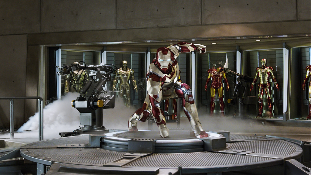 ". This  publicity image released by Marvel shows Robert Downey Jr., as Tony Stark/Iron Man, in a scene from ""Marvel\'s Iron Man 3.\""  \""Marvel\'s Iron Man 3\"" was one of several upcoming films to receive spotlight treatment with an ad that aired during Super Bowl XLVII on Sunday, Feb. 3, 2013. (AP Photo/Marvel)"