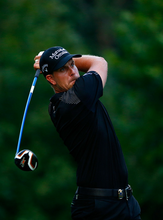 . Henrik Stenson of Sweden hits his tee shot on the 18th hole during the final round of the 96th PGA Championship at Valhalla Golf Club on August 10, 2014 in Louisville, Kentucky.  (Photo by Sam Greenwood/Getty Images)