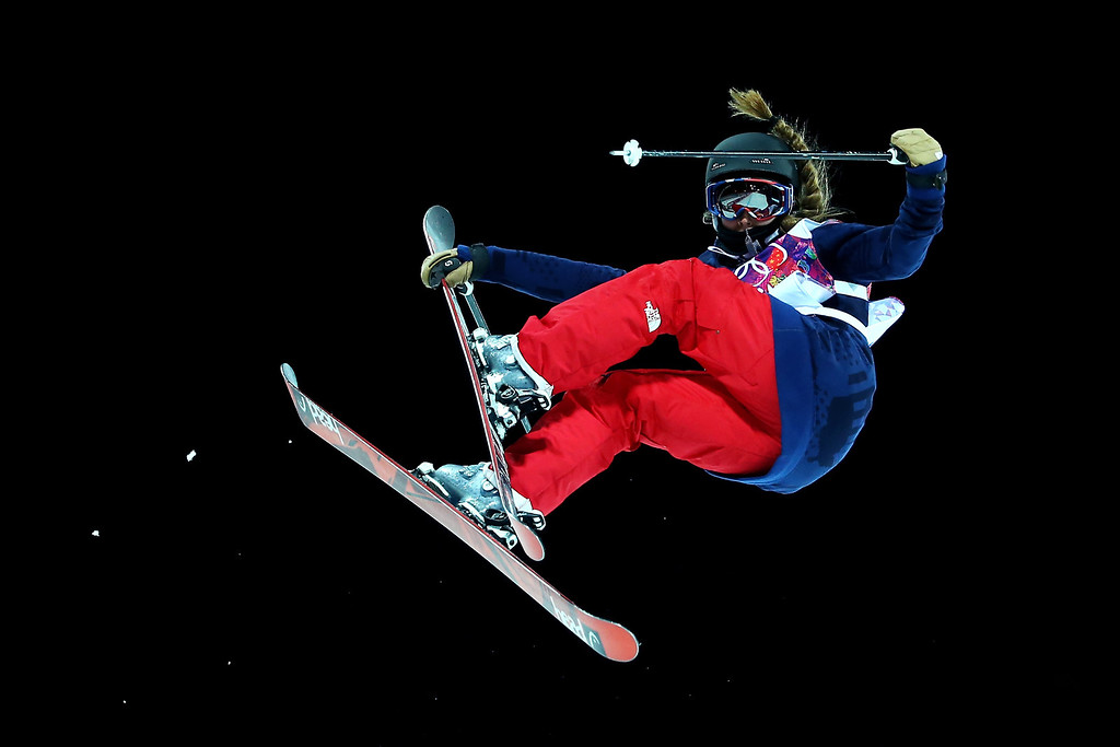 . Maddie Bowman of the United States competes in the Freestyle Skiing Ladies\' Ski Halfpipe Qualification on day thirteen of the 2014 Winter Olympics at Rosa Khutor Extreme Park on February 20, 2014 in Sochi, Russia.  (Photo by Streeter Lecka/Getty Images)