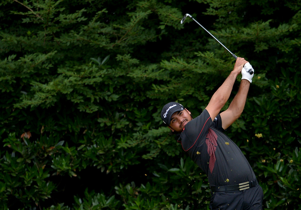 . ARDMORE, PA - JUNE 16:  Jason Day of Australia hits his tee shot on the 11th hole during the final round of the 113th U.S. Open at Merion Golf Club on June 16, 2013 in Ardmore, Pennsylvania.  (Photo by Drew Hallowell/Getty Images)