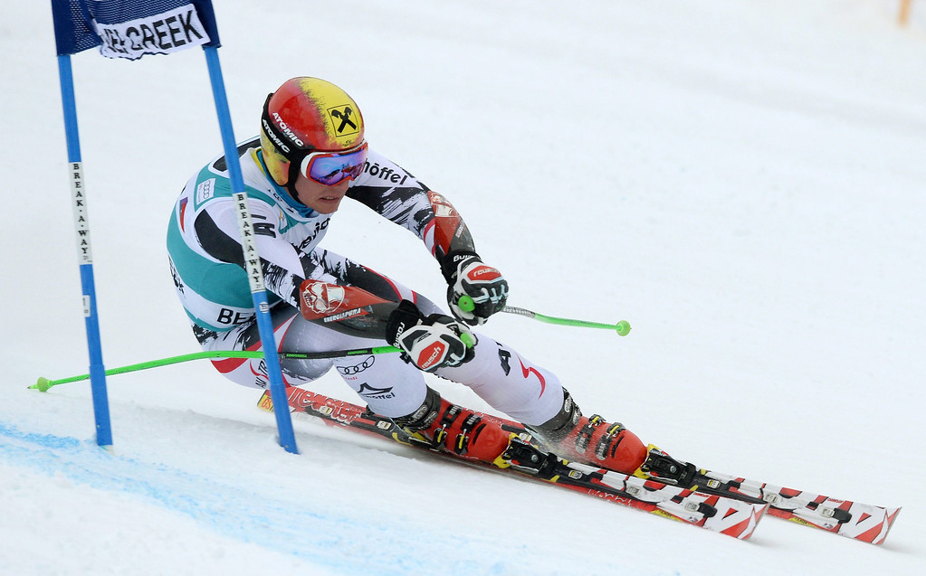 . Marcel Hirscher of Austria in action during the first run in the men\'s Giant Slalom race at the FIS Alpine Skiing World Cup in Beaver Creek, Colorado, USA, 08 December 2013.  EPA/JUSTIN LANE