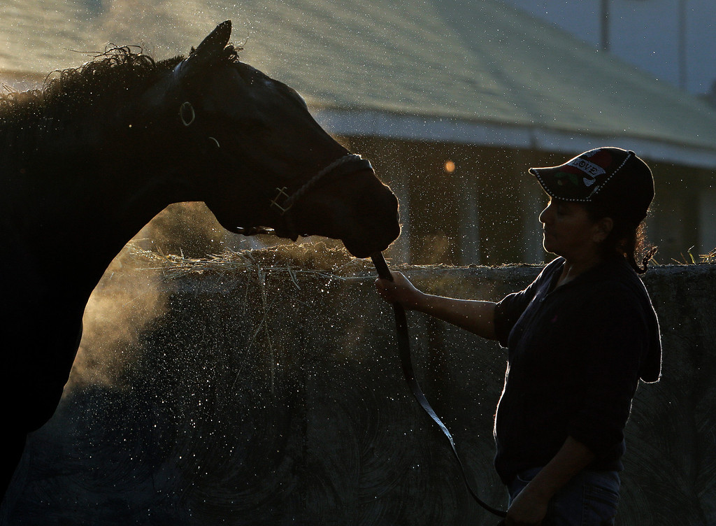 . Offalia Mehia holds a horse while it is being bathed after a morning workout at Churchill Downs Wednesday, May 1, 2013, in Louisville, Ky. (AP Photo/Charlie Riedel)