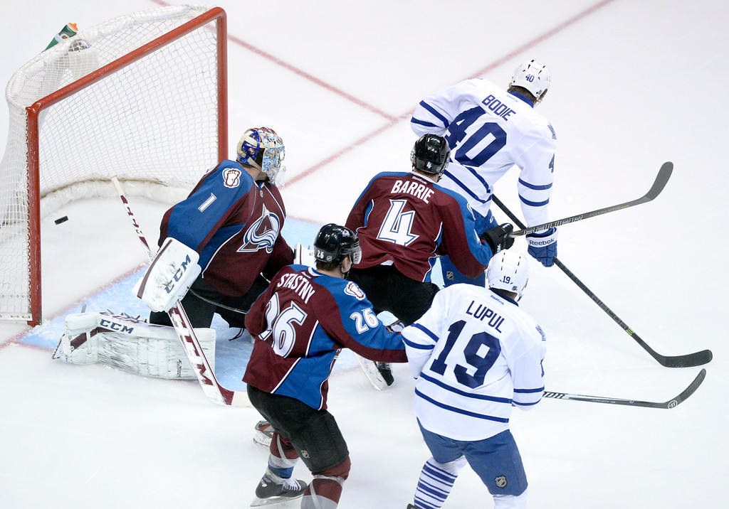 . DENVER, CO. - JANUARY 21:  Avalanche goalie Semyon Varlamov gave up his third goal of the night early in the second period. He was replaced by JS Giguere. The Colorado Avalanche hosted the Toronto Maple Leafs Tuesday night, January 21, 2014 at the Pepsi Center. Photo By Karl Gehring/The Denver Post