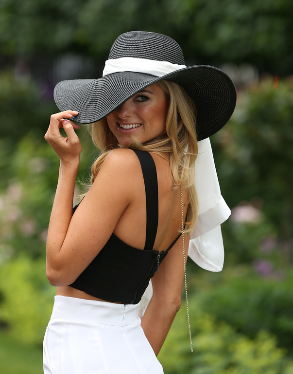 . Kimberley Garner poses for photographers on day three of Royal Ascot at Ascot Racecourse on June 19, 2014 in Ascot, England. (Photo by Steve Bardens/Getty Images)