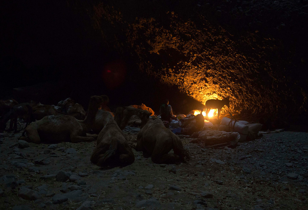. Salt merchants, and their pack animals, rest for the night in a canyon, during their journey to extract salt from the Danakil Depression, northern Ethiopia April 20, 2013. The Danakil Depression in Ethiopia is one of the hottest and harshest environments on earth, with an average annual temperature of 94 degrees Fahrenheit (34.4 Celsius). For centuries, merchants have travelled there with caravans of camels to collect salt from the surface of the vast desert basin. The mineral is extracted and shaped into slabs, then loaded onto the animals before being transported back across the desert so that it can be sold around the country. Picture taken April 20, 2013. REUTERS/Siegfried Modola