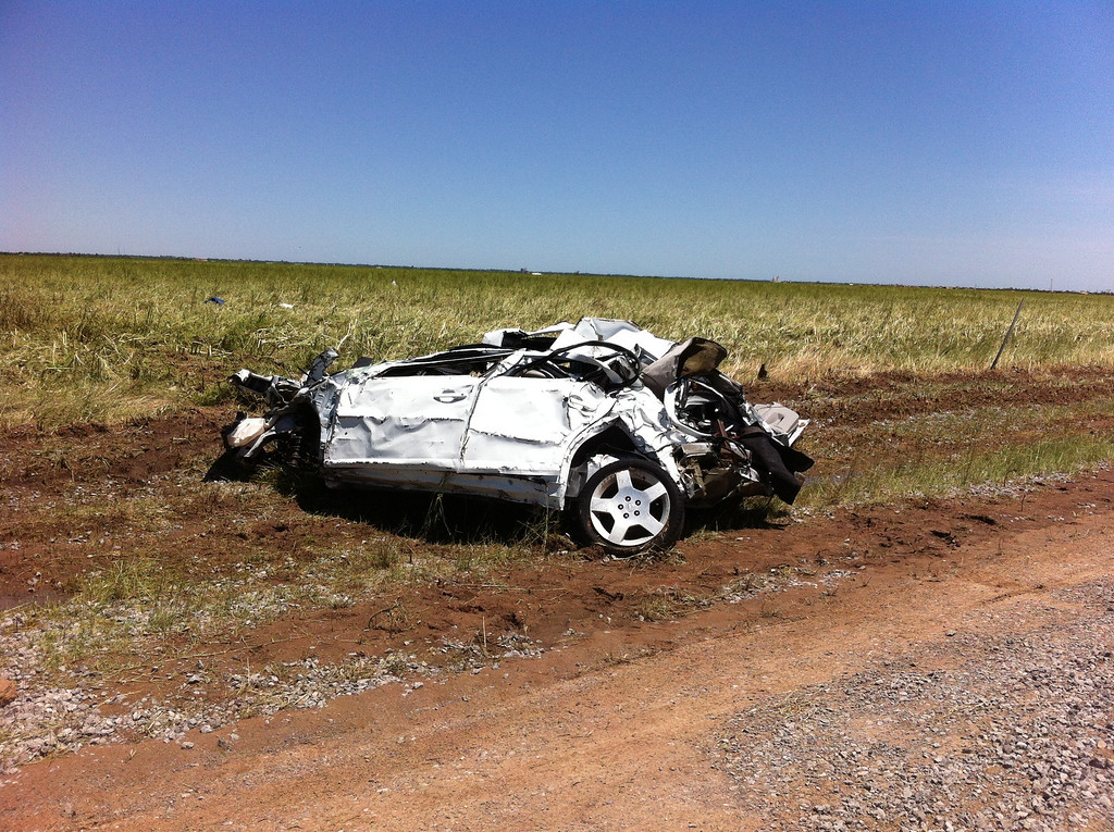 . Tim Samaras died in this car when it was picked up by a tornado. (Photo provided by KWTV News 9)
