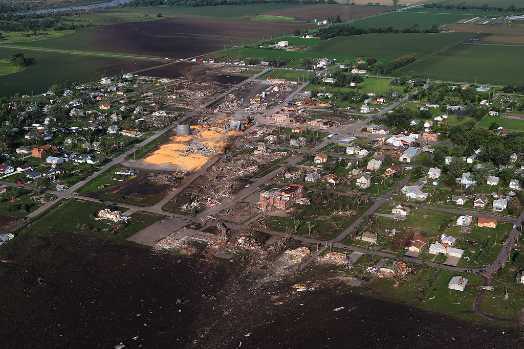 . This Tuesday, June 17, 2014, aerial photo,  shows the devastated town of Pilger, Neb.   (AP Photo/Dakota Aerials, Dave Tunge)