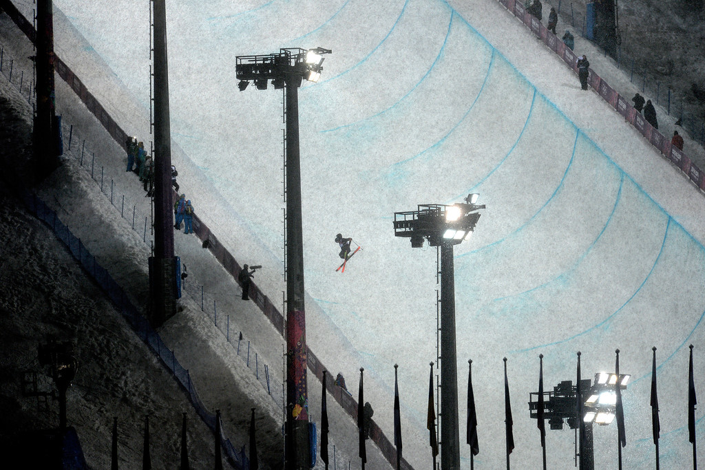 . New Zealand\'s Lyndon Sheehan flips during the men\'s ski halfpipe final. Sochi 2014 Winter Olympics on Tuesday, February 18, 2014. (Photo by AAron Ontiveroz/The Denver Post)