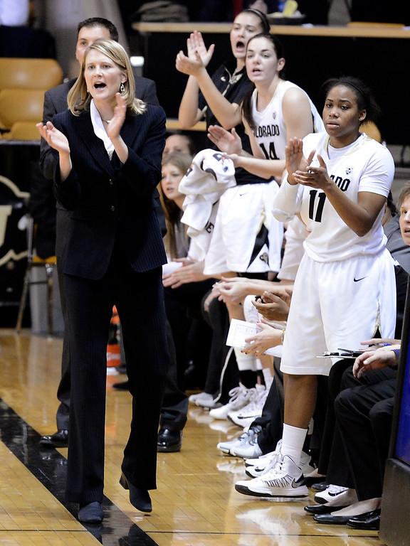 . Colorado head coach Linda Lappe cheers after a score against Wyoming during their NCAA college basketball game, Wednesday, Nov. 28, 2012, in Boulder, Colo. (AP Photo/The Daily Camera, Jeremy Papasso)