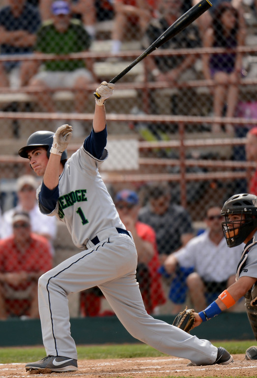 . DENVER, CO. - MAY 24 :Connor Lambert of ThunderRidge High School (1) singles in the first inning of semifinal round of 5A State Championships baseball game against Cherry Creek High School at All City Field. Denver, Colorado. May 24, 2013. ThunderRidge won 5-1. (Photo By Hyoung Chang/The Denver Post)