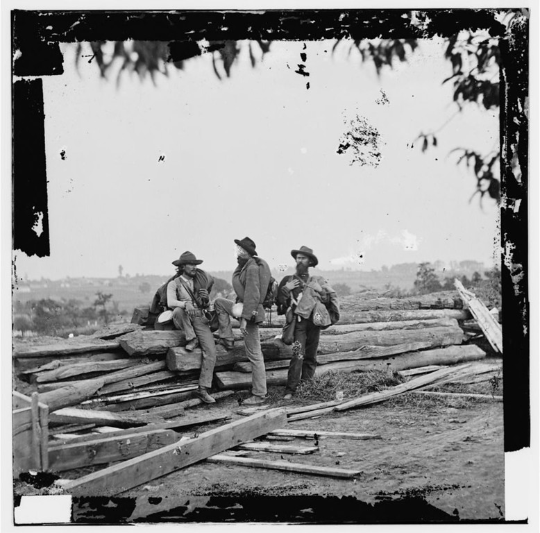 . Gettysburg, Pa. Three Confederate prisoners. Photograph from the main eastern theater of the war, Gettysburg, June-July, 1863.  - Library of Congress Prints and Photographs Division Washington, D.C.