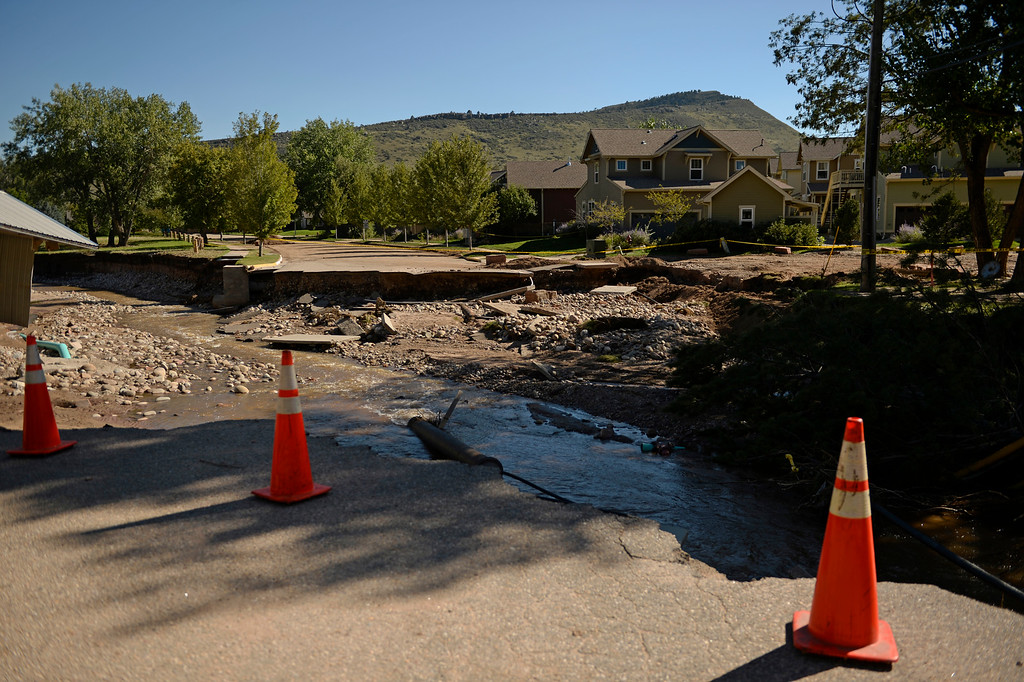 . Many roads and bridges were destroyed in the flood in Lyons, September 20, 2013. With so many road damaged it is making it hard for residents to return to the area. (Photo By RJ Sangosti/The Denver Post)