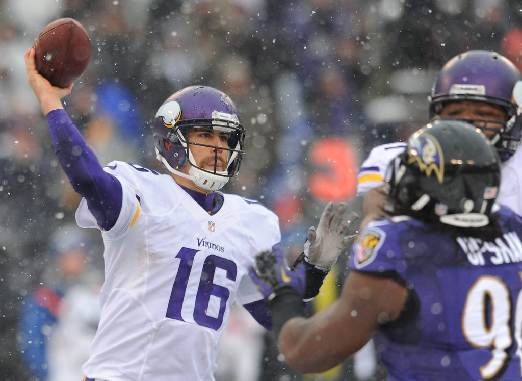 . Minnesota Vikings quarterback Matt Cassel (16) throws to a receiver in the first half of an NFL football game against the Baltimore Ravens, Sunday, Dec. 8, 2013, in Baltimore. (AP Photo/Gail Burton)