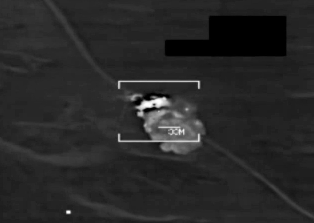 ". An image grab taken from a handout video released by the United States Central Command (Centcom) on August 8, 2014, shows a US military F/A-18 Hornet fighter jet strike on what the US army says is an Islamic State (IS) target at an undisclosed location in northern Iraq. US warplanes bombed jihadist positions in northern Iraq on August 8, 2014, in what the federal and Kurdish governments vowed would allow them to start clawing back areas lost in two months of conflict.  ""AFP PHOTO / HO / CENTCOM/AFP/Getty Images"