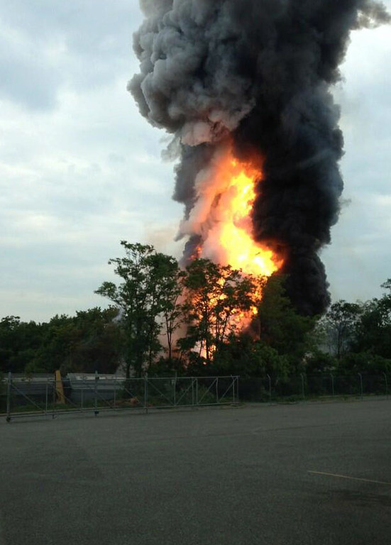 . This photo provided by Kevin Lindemann, shows an explosion outside Baltimore on Tuesday, May, 28, 2013.  (AP Photo/Kevin Lindemann)