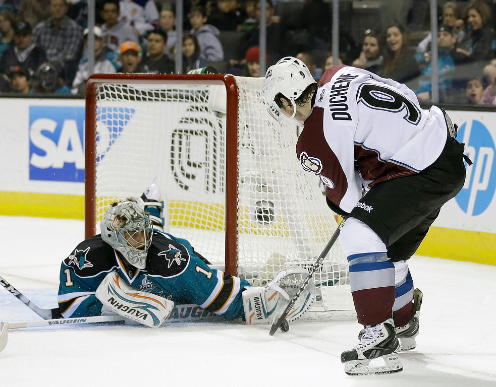 . San Jose Sharks goalie Thomas Greiss, left, of Germany, stops a shot-attempt by Colorado Avalanche center Matt Duchene (9) during the second period of an NHL hockey game in San Jose, Calif., Saturday, Jan. 26, 2013. (AP Photo/Marcio Jose Sanchez)