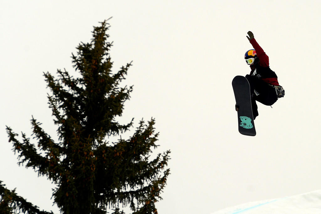 . ASPEN, CO - JANUARY 26: Enni Rukajärvi grabs air during the women\'s snowboard slopestyle final. X Games Aspen Buettermilk Mountain Aspen January 26, 2013 (Photo By AAron Ontiveroz / The Denver Post)