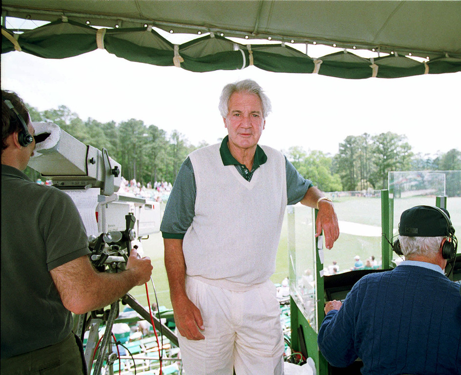 . FILE - In this April 10, 1994, file photo, CBS broadcaster Pat Summerall works in the television booth on No. 18 during the final round of the Masters golf tournament at Augusta National Golf Club in Augusta, Ga. Fox Sports spokesman Dan Bell said Tuesday, April 16, 2013, that Summerall, the NFL player-turned-broadcaster whose deep, resonant voice called games for more than 40 years, has died at the age of 82. (AP Photo/Lenny Ignelzi, File)
