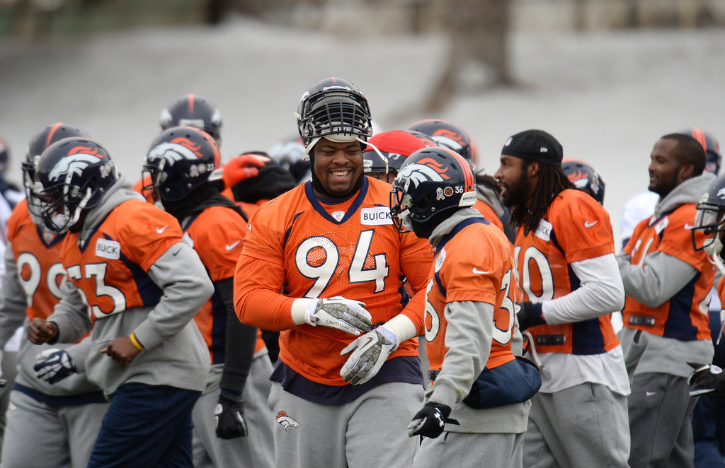 . CENTENNIAL, CO. NOVEMBER 22 : Terrance Knighton of Denver Broncos (94) is is in the team practice at the field in Denver Broncos Headquarters at Dove Valley. Centennial, Colorado. November 22, 2013. (Photo by Hyoung Chang/The Denver Post)