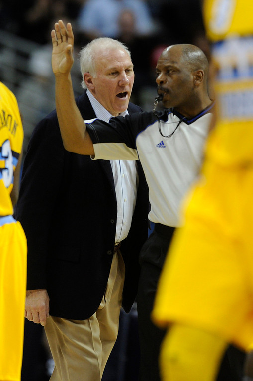 . San Antonio coach Gregg Popovich had a word with an official during a time out in the second half. The Denver Nuggets defeated the San Antonio Spurs 112-106 at the Pepsi Center Tuesday night, December 18, 2012. Karl Gehring/The Denver Post