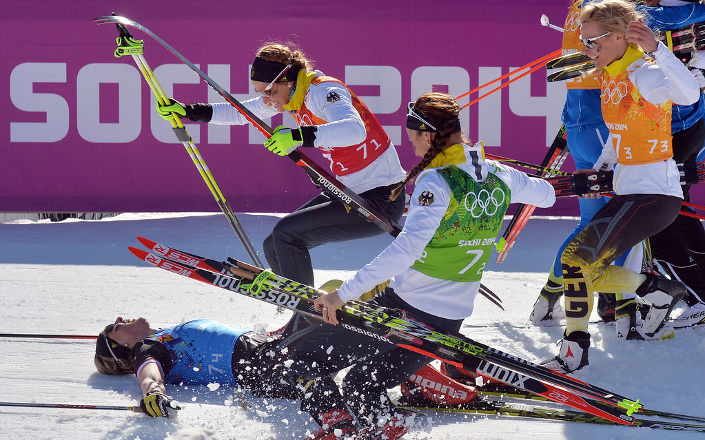 . Germany\'s team with (L-R) Denise Herrmann, Nicole Fessel, Stefanie Boehler and Claudia Nystad celebrate his third place after the Women\'s  4x5 km Relay competition at the Sochi 2014 Olympic Games, Krasnaya Polyana, Russia, 15 February 2014.  EPA/HENDRIK SCHMIDT