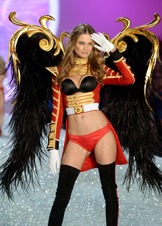 . Model Behati Prinsloo walks the runway at the 2013 Victoria\'s Secret Fashion Show at Lexington Avenue Armory on November 13, 2013 in New York City.  (Photo by Dimitrios Kambouris/Getty Images for Victoria\'s Secret)