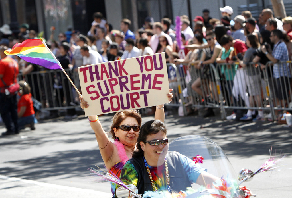 . Members of Dykes on Bikes kickoff the 43rd annual San Francisco Lesbian, Gay, Bisexual, Transgender (LGBT) Pride Celebration & Parade June 30, 2013, in San Francisco, California.  The annual S.F. Pride Parade occurred just days after same-sex marriages were reinstated in California following the recent Supreme Court rulings.  (Photo by Sarah Rice/Getty Images)