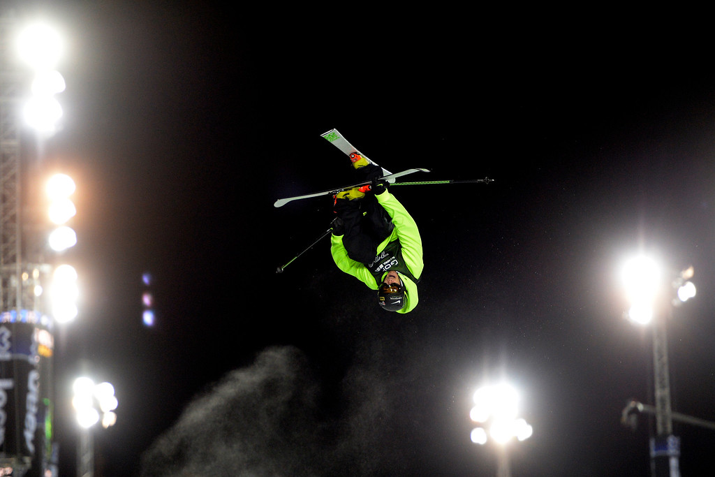 . Kevin Rolland soars upside down during the men\'s ski halfpipe final. X Games Aspen at Buttermilk on Friday, January 24, 2014. (Photo by AAron Ontiveroz/The Denver Post)