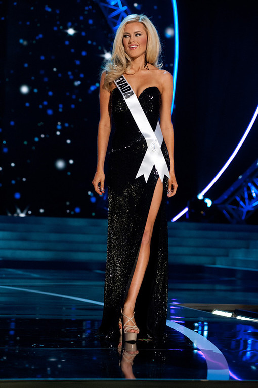 . This photo provided by the Miss Universe Organization, Miss Nevada USA 2013, Chelsea Caswell competes in her evening gown during the 2013 Miss USA Competition Preliminary Show  in Las Vegas  on Wednesday June 12, 2013.  She will compete for the title of Miss USA 2013 and the coveted Miss USA Diamond Nexus Crown on June 16, 2013.  (AP Photo/Miss Universe Organization, Patrick Prather)