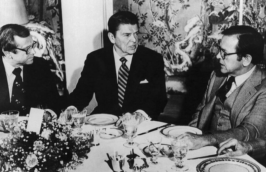 . FILE - This Dec. 13, 1980 file photo shows President-elect Ronald Reagan, center, talking with Sen. Ted Stevens, R-Alaska, right, and Sen. Howard Baker, R-Tenn. during a luncheon at Blair House in Washington. . Baker, who asked what President Richard Nixon knew about Watergate, has died. He was 88. Baker, a Republican, served 18 years in the Senate. He earned the respect of Republicans and Democrats alike and rose to the post of majority leader. He served as White House chief of staff at the end of the Reagan administration and was U.S. ambassador to Japan during President George W. Bush\'s first term.   (AP Photo/Bob Daugherty, File)