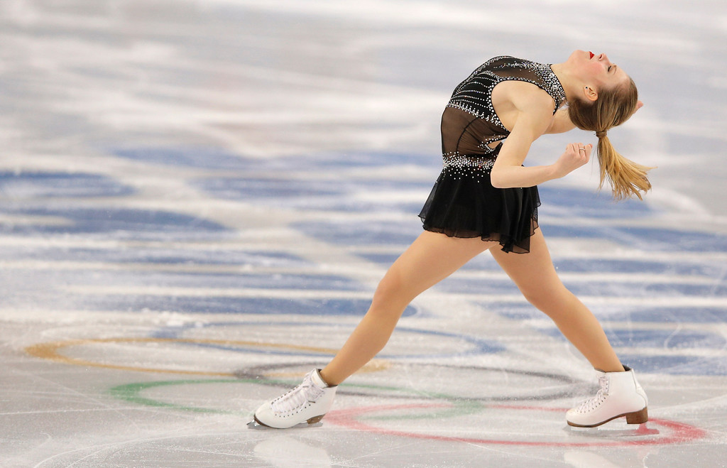 . Ashley Wagner of the United States competes in the women\'s short program figure skating competition at the Iceberg Skating Palace during the 2014 Winter Olympics, Wednesday, Feb. 19, 2014, in Sochi, Russia. (AP Photo/Vadim Ghirda)
