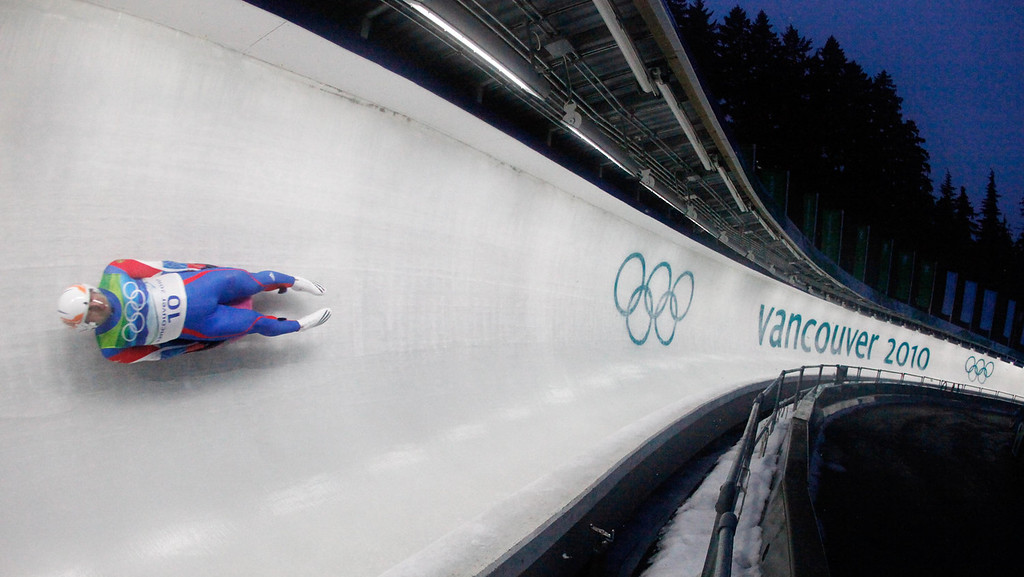 . Albert Demtschenko of Russia competes during the first run of the men\'s singles luge competition at the Vancouver 2010 Olympics in Whistler, British Columbia, Saturday, Feb. 13, 2010. (AP Photo/Charlie Riedel)