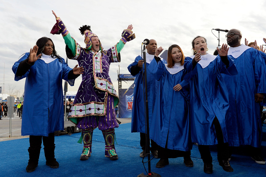 . Rocko Rounbehler of Philadelphia, PA shows his enthusiasm for the game while on the stage with the Super Bowl Gospel Celebration prior to the start of the game.  The Denver Broncos vs the Seattle Seahawks in Super Bowl XLVIII at MetLife Stadium in East Rutherford, New Jersey Sunday, February 2, 2014. (Photo by Craig Walker/The Denver Post)