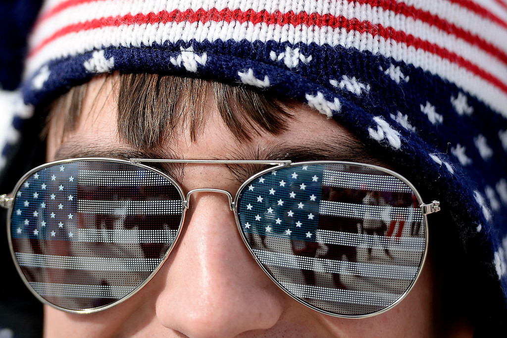 . ROSA KHUTOR, RUSSIA - FEBRUARY 09: Stephen Arlington rocks stars and stripes during the women\'s snowboard slopestyle final. Sochi 2014 Winter Olympics at the Rosa Khutor Etreme Park on Sunday, February 9, 2014. (Photo by AAron Ontiveroz/The Denver Post)