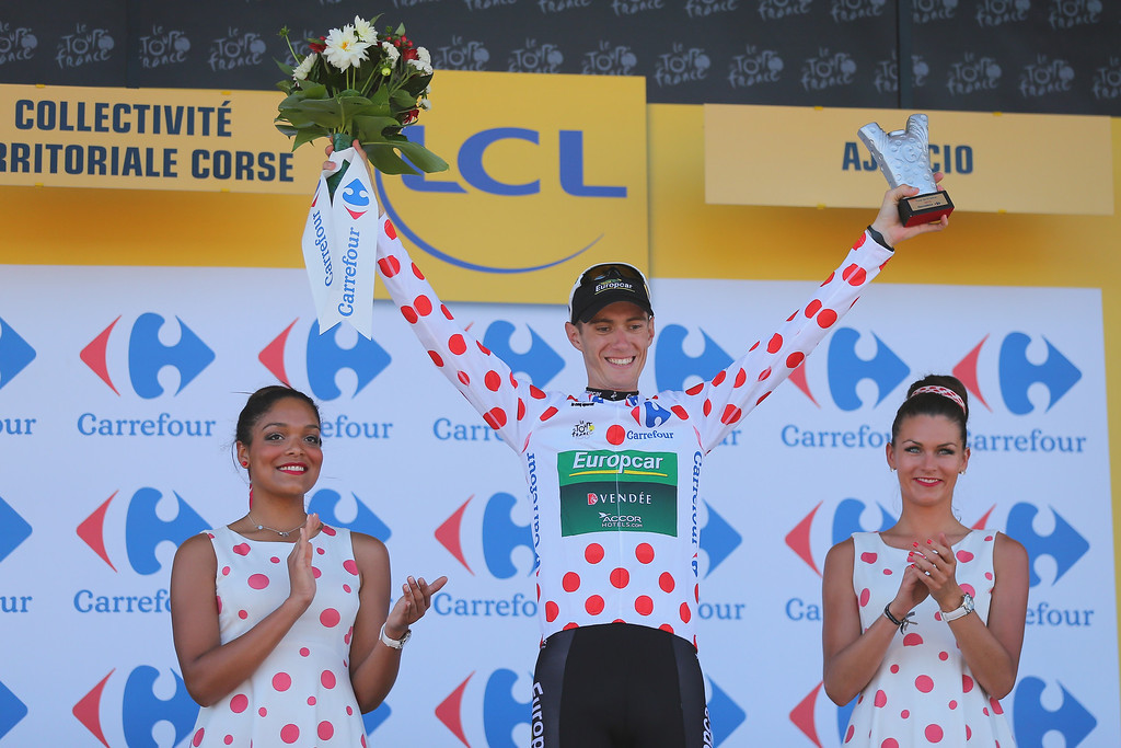 . Pierre Rolland of France and Europcar wears the polka dot jersey for the best climber on the podium at the end of stage two of the 2013 Tour de France, a 156KM road stage from Bastia to Ajaccio, on June 30, 2013 in Ajaccio, France.  (Photo by Bryn Lennon/Getty Images)