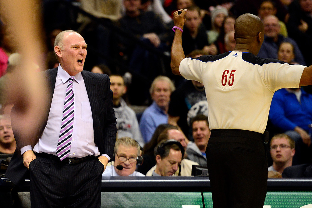 . Denver Nuggets head coach George Karl gets heated over a foul called on Denver Nuggets small forward Kenneth Faried (35) during the second half of the Nugget\'s 92-78 win at the Pepsi Center on Tuesday, January 1, 2013. AAron Ontiveroz, The Denver Post