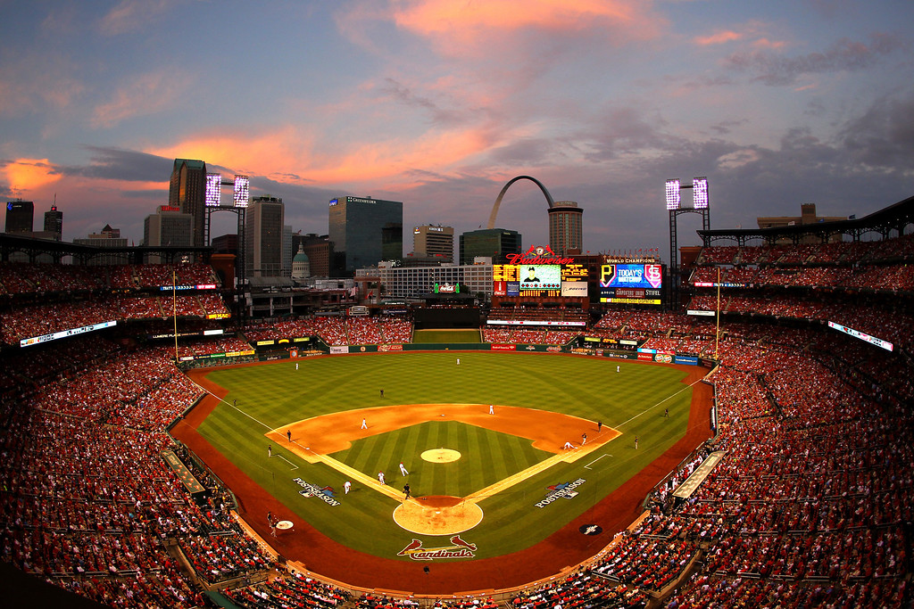 . ST LOUIS, MO - OCTOBER 03:  A general view as the St. Louis Cardinals take on the Pittsburgh Pirates in Game One of the National League Division Series at Busch Stadium on October 3, 2013 in St Louis, Missouri.  (Photo by Dilip Vishwanat/Getty Images)