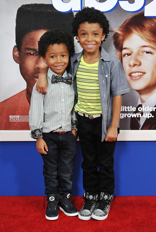 ". Actor Kaleo Elam, left, and his brother Makhari Elam attend the premiere of ""Grown Ups 2\"" at the AMC Loews Lincoln Square on Wednesday, July 10, 2013 in New York. (Photo by Evan Agostini/Invision/AP)"