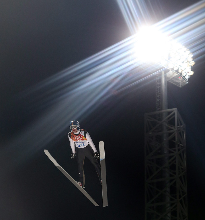 . Andreas Wellinger of Germany in action during a trial jump in RusSki Gorki Jumping Center at the Sochi 2014 Olympic Games, Krasnaya Polyana, Russia, 14 February 2014.  EPA/GRZEGORZ MOMOT