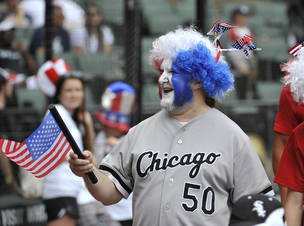 . CHICAGO, IL - JULY 4: Joey Svec walks in a 4th of July Parade on the field before the game between the Chicago White Sox and the Baltimore Orioles on July 4, 2013 at U.S. Cellular Field in Chicago, Illinois.  (Photo by David Banks/Getty Images)