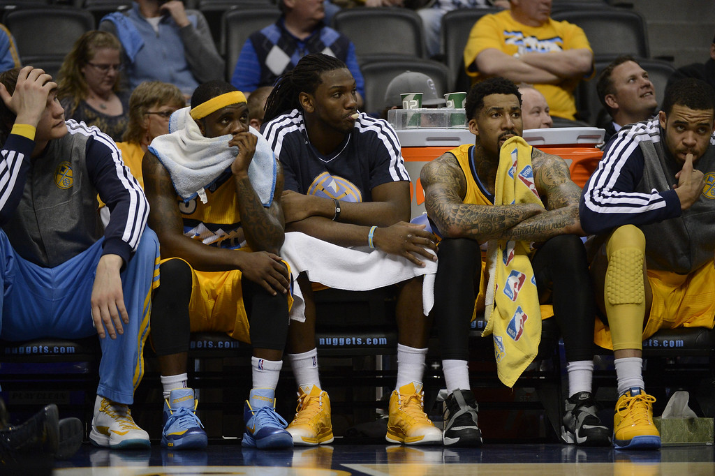 . DENVER, CO. - APRIL 23: Nuggets player sit dejected on the bench in the final minutes of the game. The Denver Nuggets took on the Golden State Warriors in Game 2 of the Western Conference First Round Series at the Pepsi Center in Denver, Colo. on April 23, 2013. (Photo by John Leyba/The Denver Post)