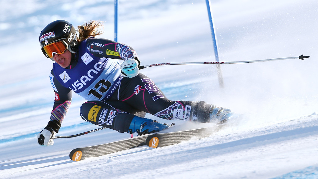 . Leanne Smith races during the women\'s World Cup super-G skiing event, in Beaver Creek, Colo., Saturday, Nov. 30, 2013. (AP Photo/Allesandro Trovati)
