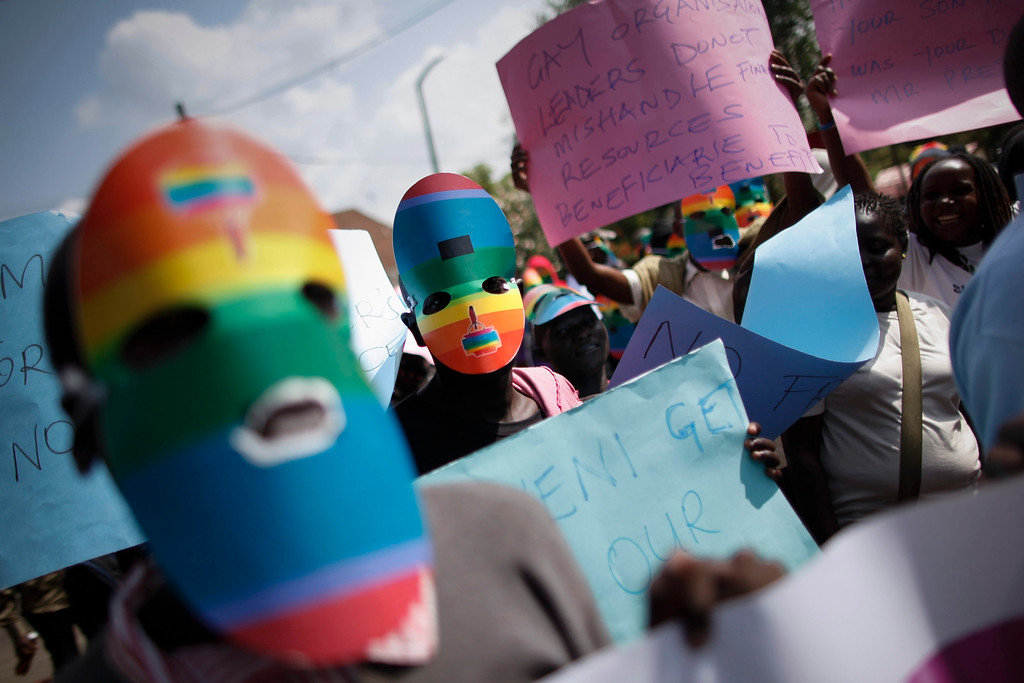 . A file picture dated 10 February  2014 shows Kenyan supporters of the LGBT community staging a protest against Uganda\'s anti-gay bill in front of the Ugandan High Commission in Nairobi, Kenya. Uganda\'s President Yoweri Museveni signed into law on 24 February 2014 anti-gay legislation that allows homosexuals to be punished with up to life in prison. The law has come under strong criticism abroad, with US President Barack Obama warning that it could \'complicate\' Uganda\'s relations with one of its biggest aid donors.  EPA/DAI KUROKAWA