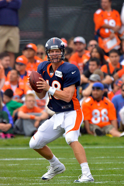 . Denver Broncos QB Peyton Manning (18) drops back to pass during training camp July 29, 2013 at Dove Valley. (Photo By John Leyba/The Denver Post)