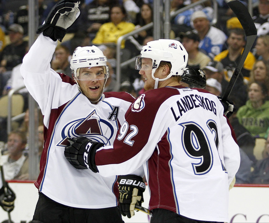 . Gabriel Landeskog #92 of the Colorado Avalanche celebrates his second period goal against the Pittsburgh Penguins during the game at Consol Energy Center on October 21, 2013 in Pittsburgh, Pennsylvania.  (Photo by Justin K. Aller/Getty Images)