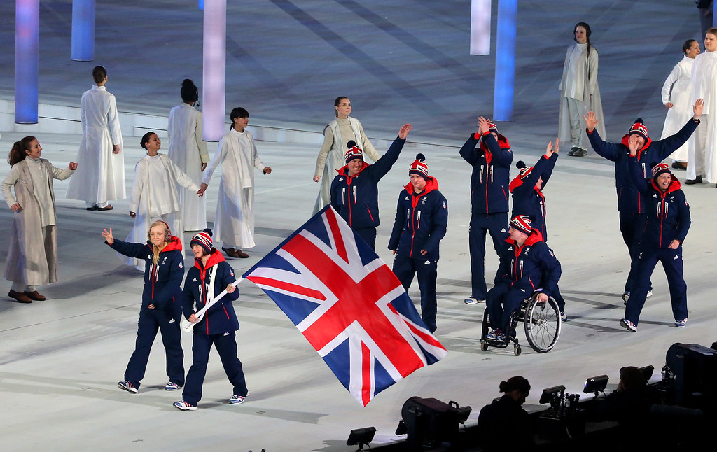 . Great Britain enters the arena lead by flag bearer Millie Knight during the Opening Ceremony of the Sochi 2014 Paralympic Winter Games at Fisht Olympic Stadium on March 7, 2014 in Sochi, Russia.  (Photo by Ian Walton/Getty Images)