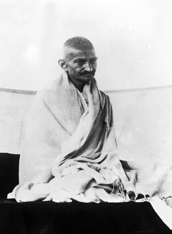 . Indian spiritual leader Mahatma Gandhi, on a public platform in Bangalore, India, Aug. 29, 1927, for the first time since his illness. (AP Photo)